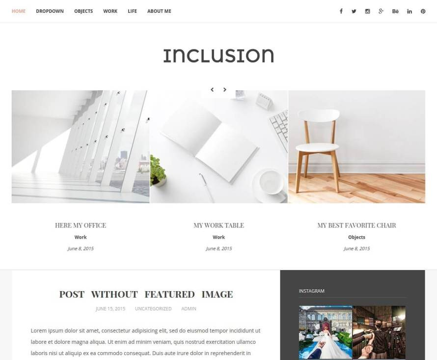 50 Modern, Minimal, Feminine WordPress Blog Themes: Inclusion