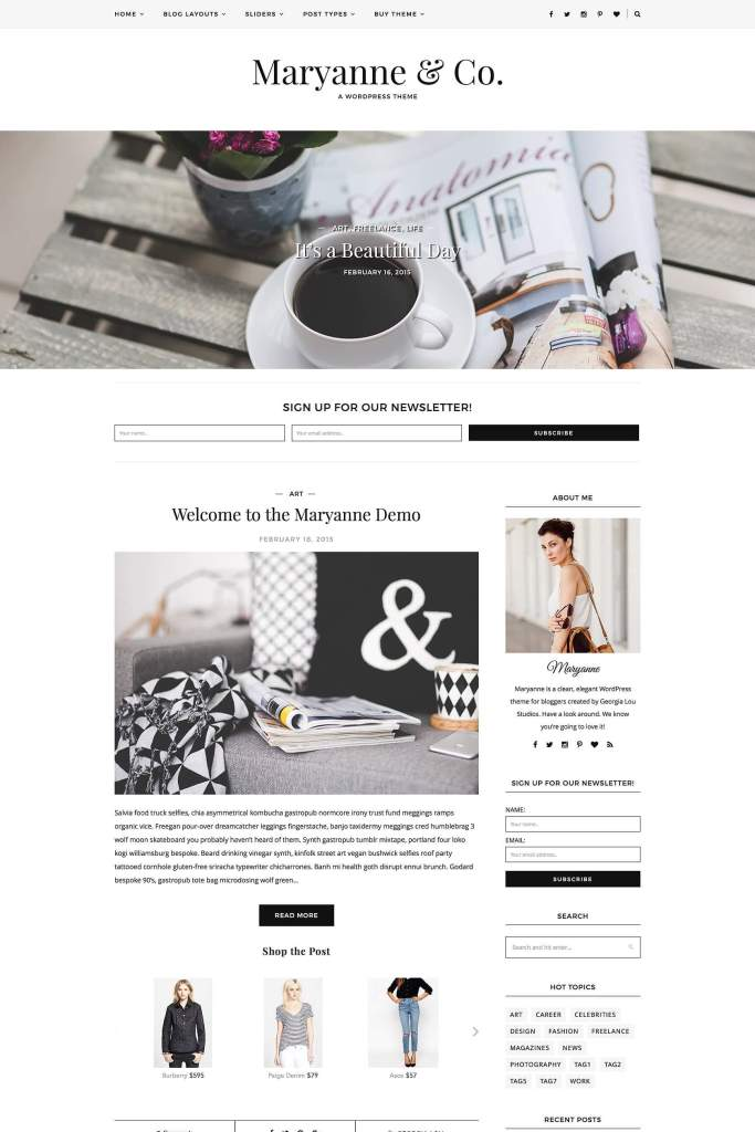 50 Modern, Minimal, Feminine WordPress Blog Themes: MaryAnne
