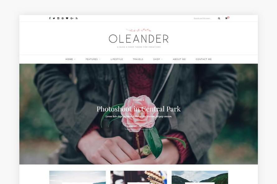 50 Modern, Minimal, Feminine WordPress Blog Themes: Oleander