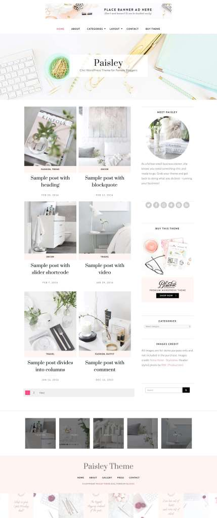 50 Modern, Minimal, Feminine WordPress Blog Themes: Paisley