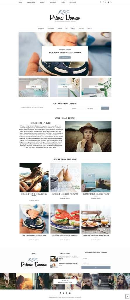 50 Modern, Minimal, Feminine WordPress Blog Themes: Prima Donna