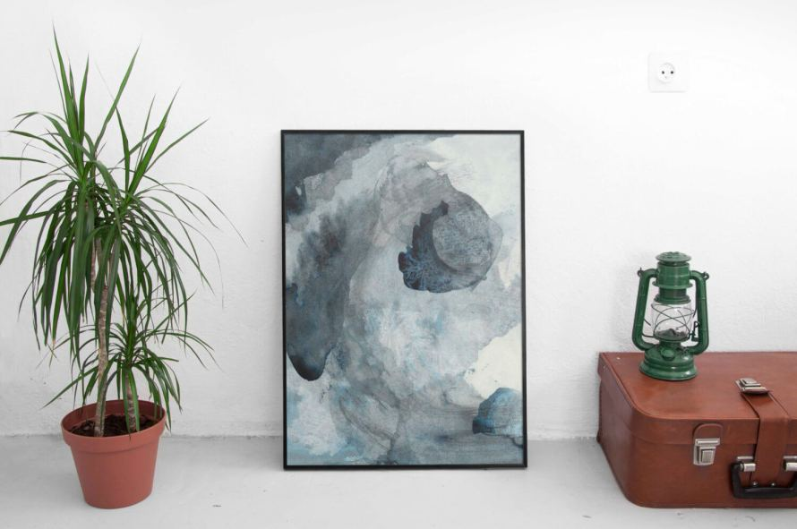 Meet the Artist: Adri Luna Studio on CreatingBeautifully.com -- Abstract Blue Painting by Adri Luna