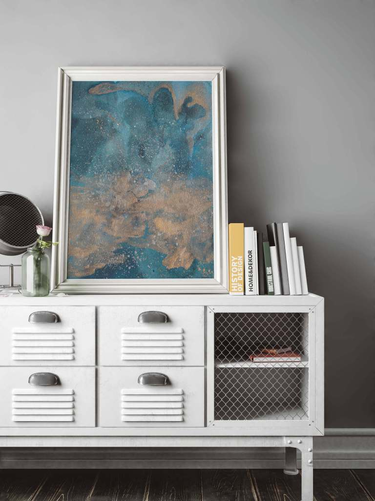 Meet the Artists: Modern Blue Abstract by Adri Luna on CreatingBeautifully.com