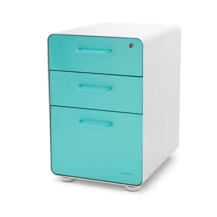 Filing cabinets don;t have to be boring! This aqua and white file storage is proof! See more in this Fun Gift Guide for Entrepreneurs at www.CreatingBeautifully.com