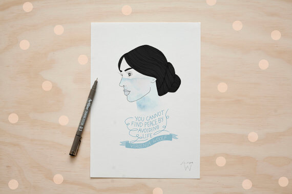 "Selling Art on Etsy, Meet the Artist Alexis Winter on CreatingBeautifully.com""Virginia Woolf"" illustration by Alexis Winter"