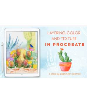 Layering Color and Texture in Procreate is just one class in this post that will help you create digital art that sells!