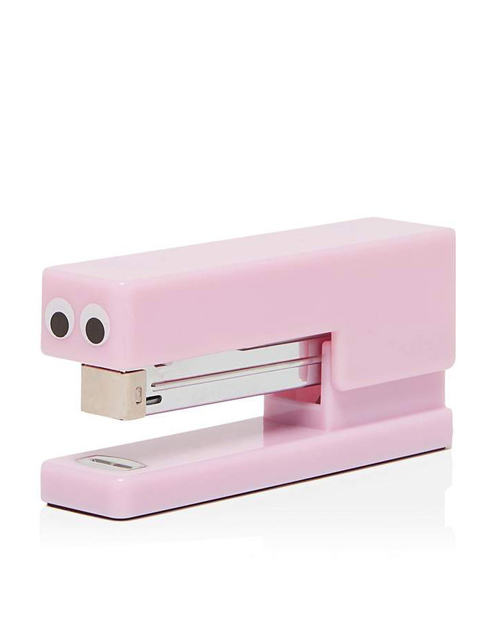 "This pink ""Eyes"" stapler is one of the cutest office supplies ever!"