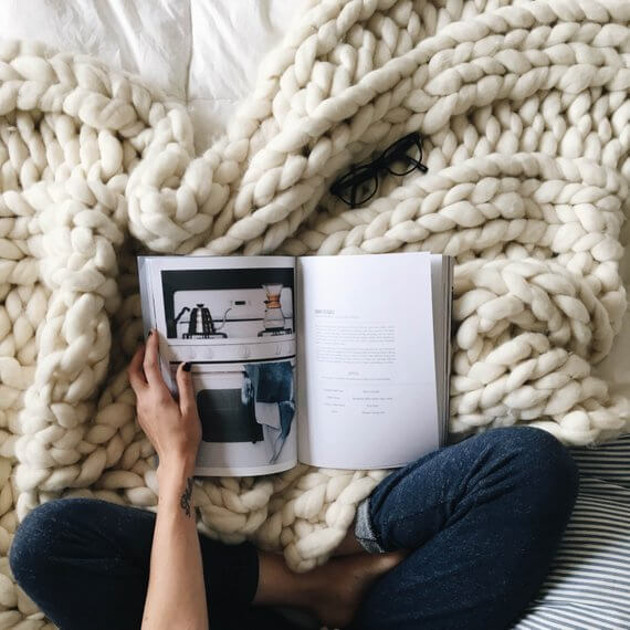 Shop Small This Holiday Season: Gift this Giant Knit Blanket by ColorwaysGallery on Etsy for over $100. #giftguide #shopsmall #shophandmade