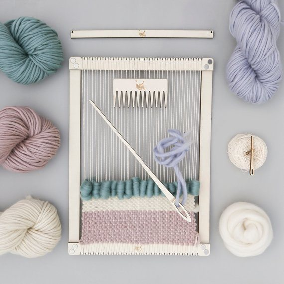 Shop Small This Holiday Season: Gift this Weaving Loom Kit from WoolCoutureCompany on Etsy for under $50! #giftguide #shopsmall #shophandmade