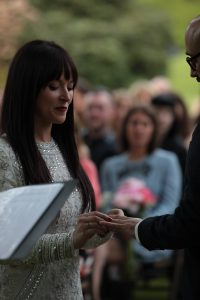 ben fiona wedding, ceremony, outdoors, wedding, ring blessing, exchange, ring