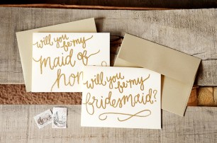 Cream Cardstock with Gold Glitter Embossing, Gold Envelopes