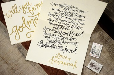 Godparent Invitations by Your New Friend Sam - Cream Cardstock with Personalized Gold Glitter Embossing Signature and Printed Poem