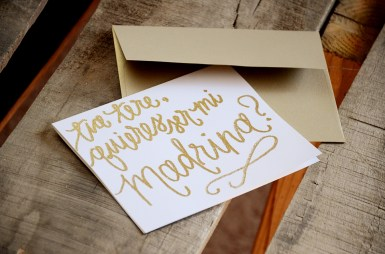 Madrina Invitations by Your New Friend Sam - Cream Cardstock with Personalized Gold Glitter Embossing and Gold Envelope