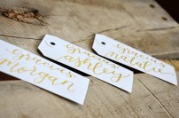 Small White Tags with Gold Ink, Calla Lily Lettering Style