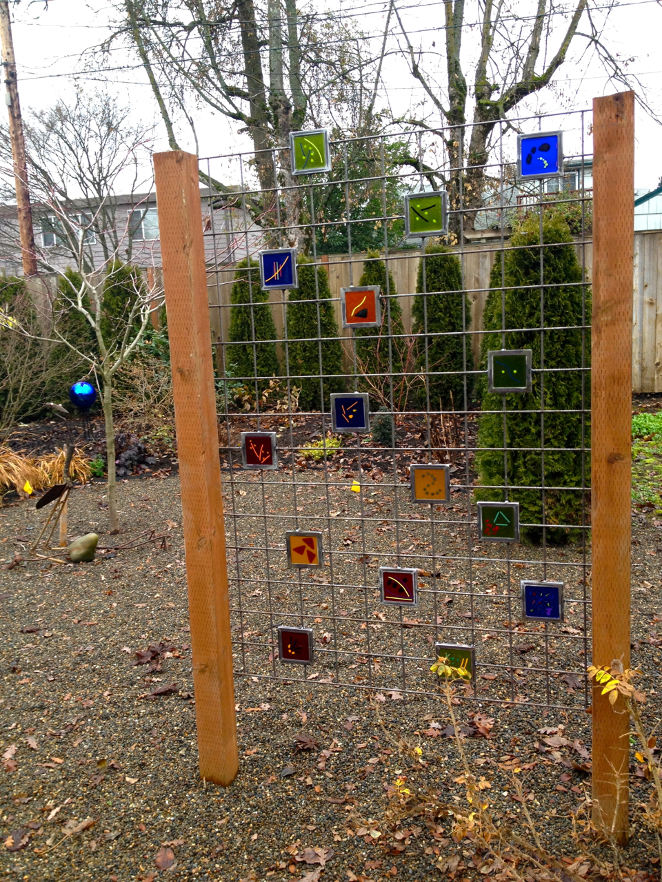Fused Glass Trellis extends colorful art into the landscape