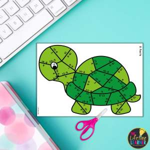 turtle math fact puzzle with blue background