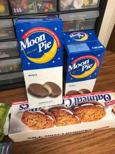moon pies and oatmeal cream pies shown sitting on a desk