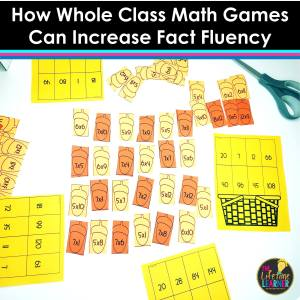 picture of whole class math games for fall with acorns in middle with math facts and baskets with answers and the title says how whole class math games can increase fact fluency