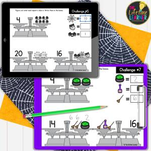 halloween math activites for elementary showing balance beam games in print and digital form