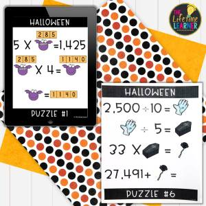 halloween math activities for elementary showing logic puzzles on an ipad and a paper printed out