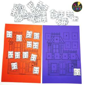 whole class math game for halloween that shows haunted houses and math facts on ghosts