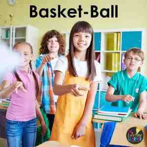 group of kids throwing paper in a classroom to show how to play basket-ball