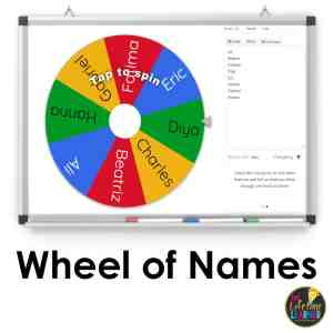 smartboard in classroom that shows wheel of names