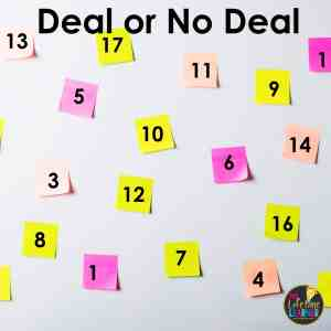 post-it notes on a whiteboard that are numbered and the text says deal or no deal as an example of classroom review games