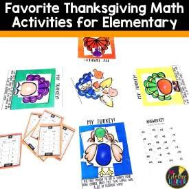 turkey game shown with Favorite Thanksgiving Math Activities for Elementary written at the top