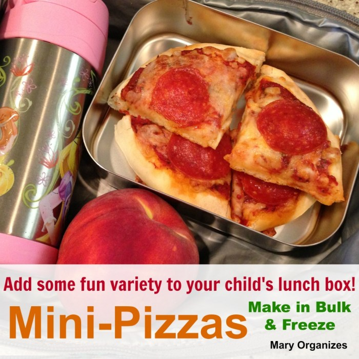 Mini pizzas can be made in bulk and frozen