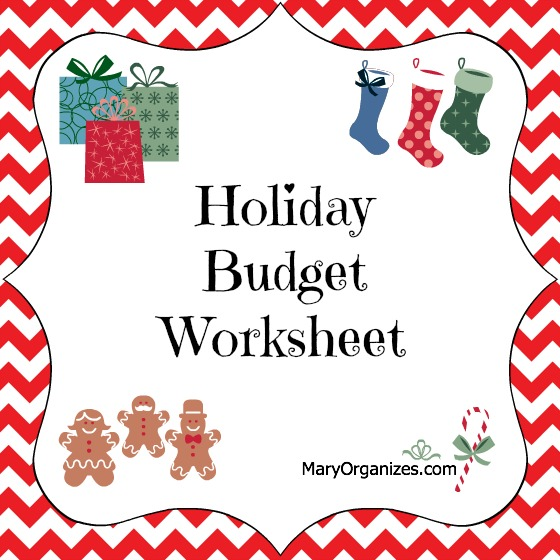 Holiday Budget Worksheet