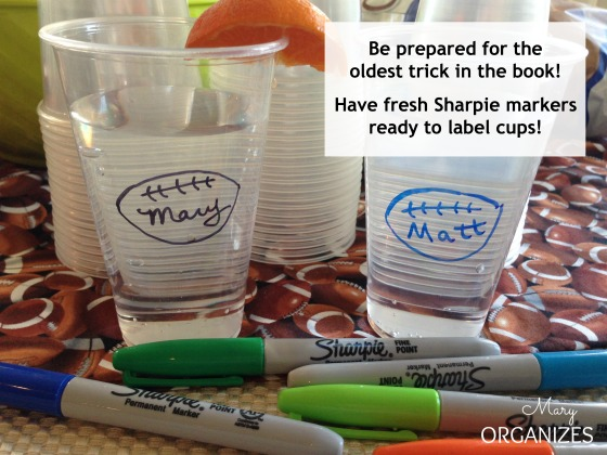 Have fresh Sharpie Markers ready to label cups --- Superbowl Party Tips You Need to Know