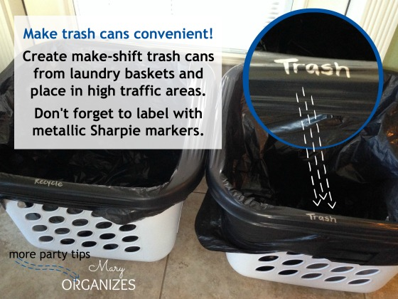 Make trash cans convenient - Superbowl Party Tips You Need