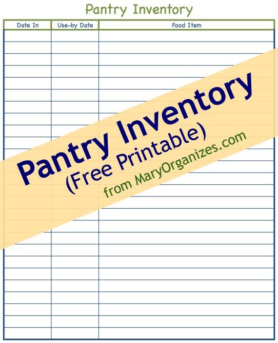Pantry Inventory Free Printable