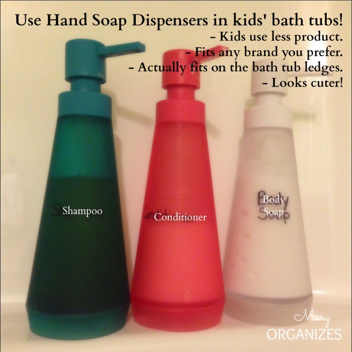 Use Hand Soap Dispensers in kids bath tubs