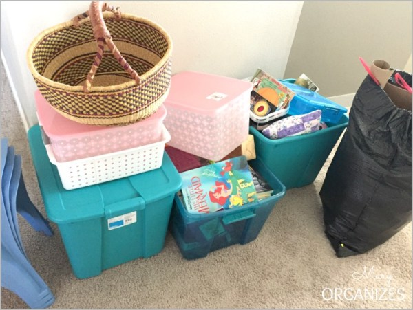 My pile at the end of decluttering my girls' clubhouse room.