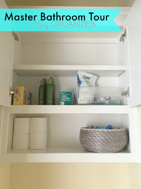 Mary ORGANIZES Master Bathroom Tour - storage behind toilet
