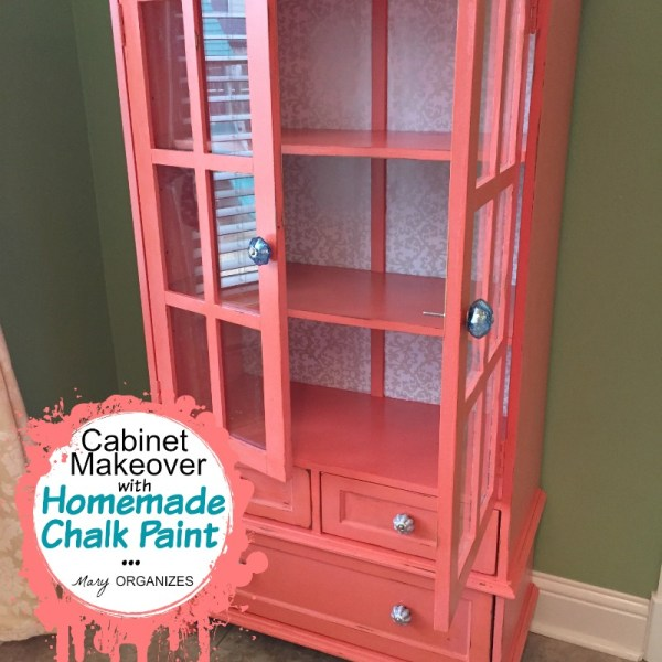 My Cabinet Makeover in CORAL!! {How to do Homemade Chalk Paint}