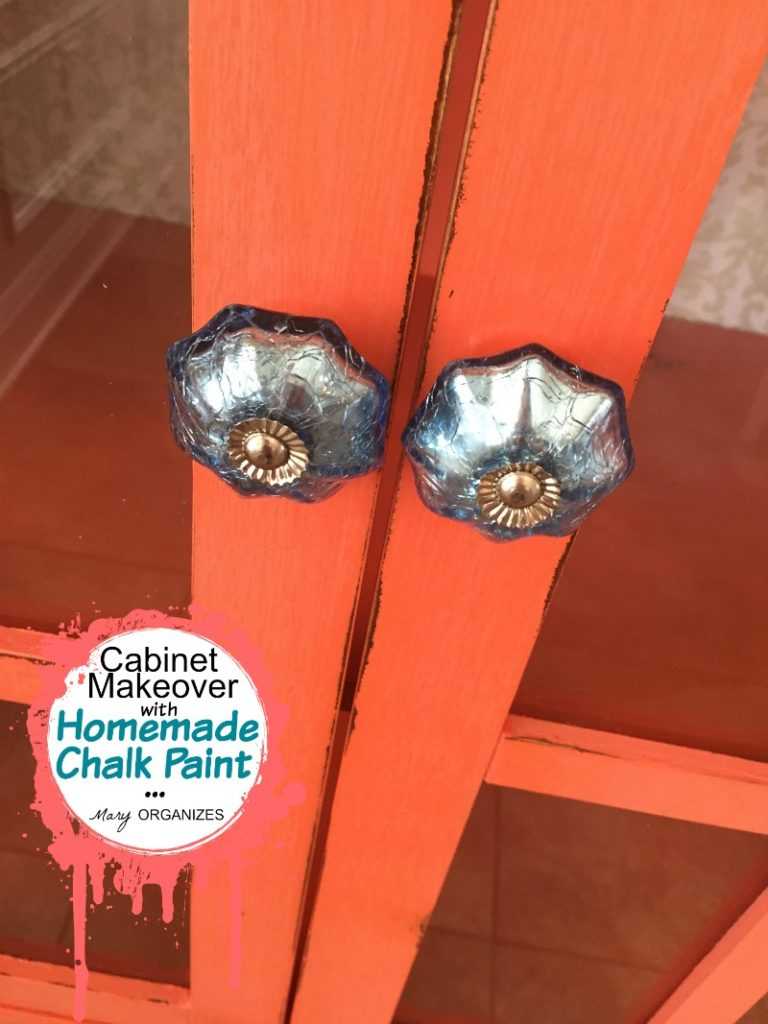 Cabinet Makeover with Homemade Chalk Paint - new cabinet pulls