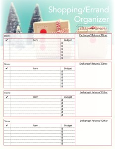 Shopping and Errand Organizing Printable