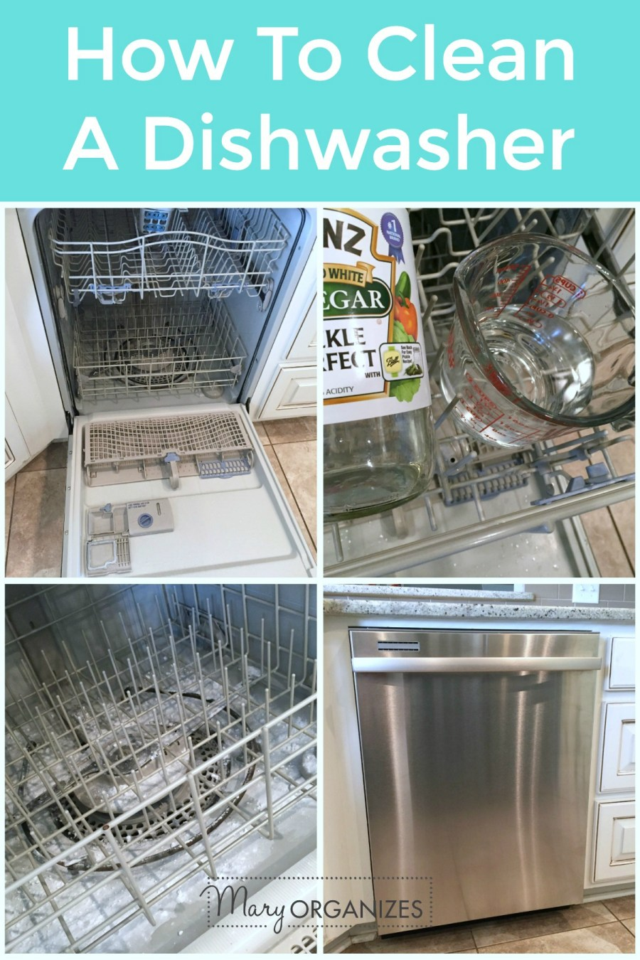 How To Clean A Dishwasher - Mary Organizes -v