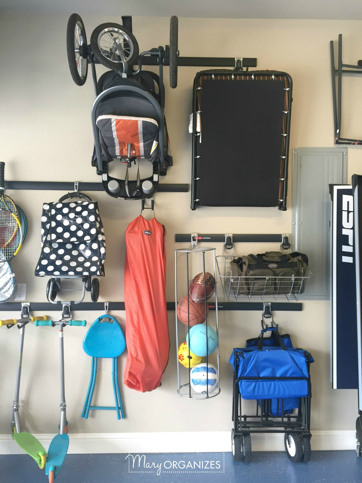 Garage Organizing - How to hang bikes scooters ripsticks balls and more -g7