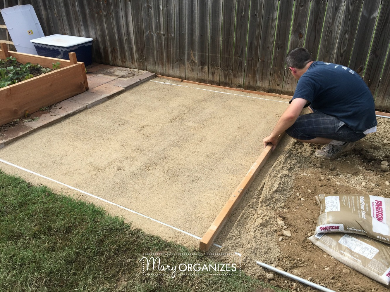 how to install a paver patio the foundation of my raised garden beds. Black Bedroom Furniture Sets. Home Design Ideas