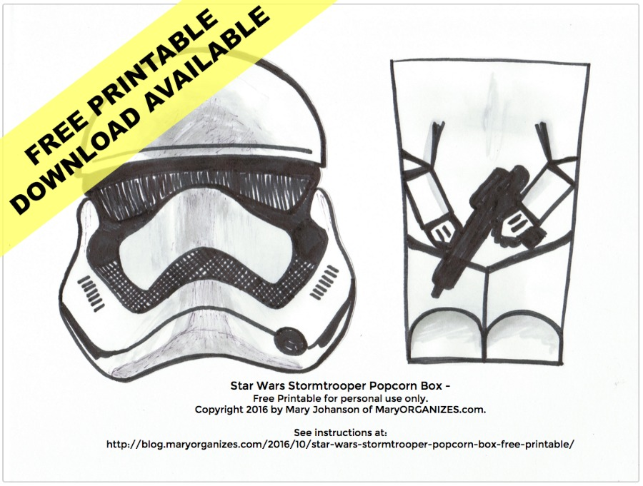graphic relating to Stormtrooper Printable called STAR WARS Stormtrooper Popcorn Box Cost-free PRINTABLE