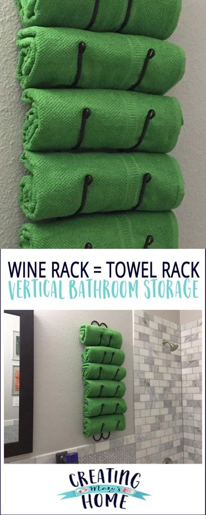wine rack as towel rack vertical bathroom storage