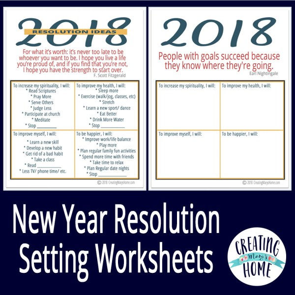 2018 Resolution Worksheets