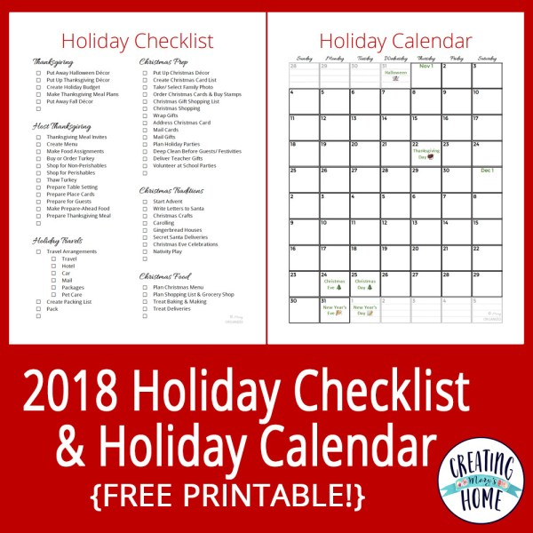 2018 Holiday Checklist & Calendar