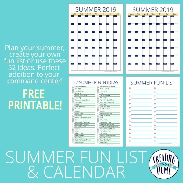 2019 Summer Fun List & Calendar (FREE Printable!)