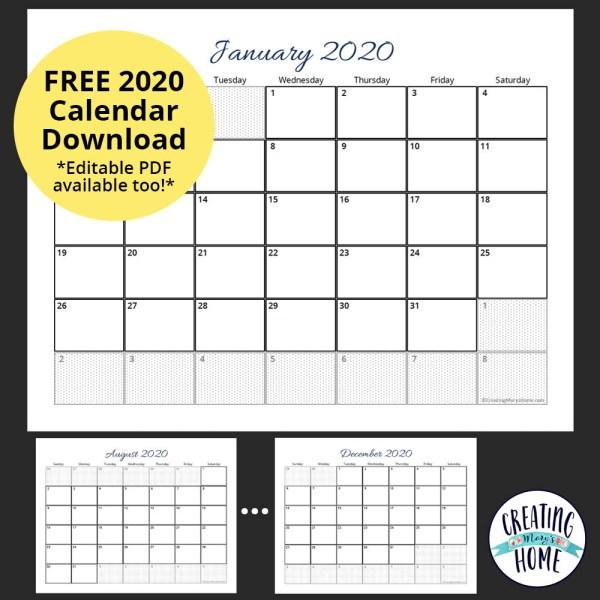 FREE 2020 Calendar (*Editable PDF*)