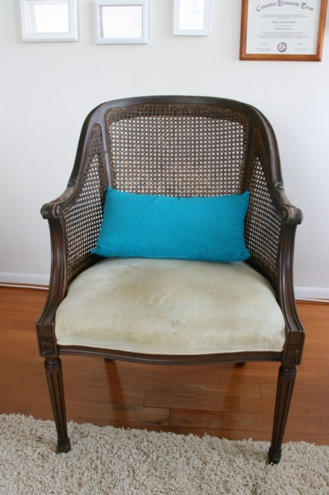 old chair before reupholstery